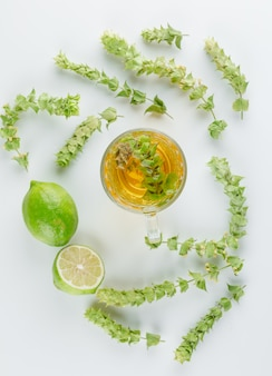 허브 차 잎, 흰색, 평면도에 유리 컵에 라임.