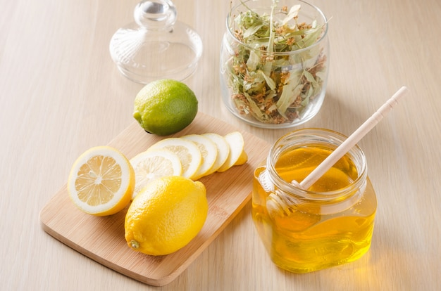 Herbal tea with lemon and honey.