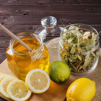 Herbal tea with lemon and honey