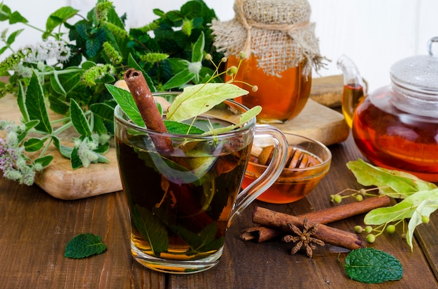 Herbal tea with mint, dried linden flowers
