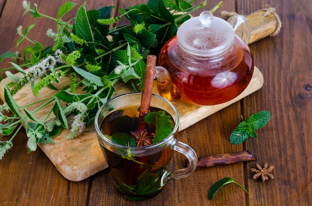 Herbal tea with mint and honey. photo