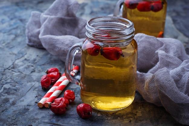 Herbal tea with rosehip. selective focus