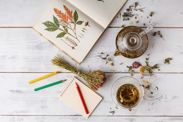 Herbal tea in wooden spoonon table with book and crayons
