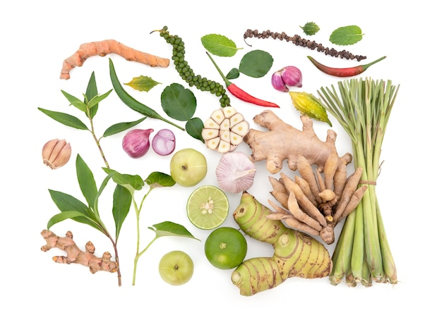 Herbs ,fruits and vegetables for healthy immune system isolated on white background with clipping path.