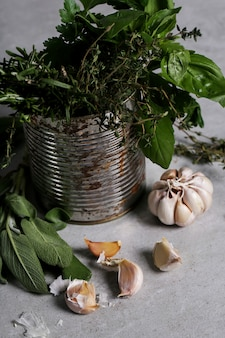 Herbs and garlic, rustic style