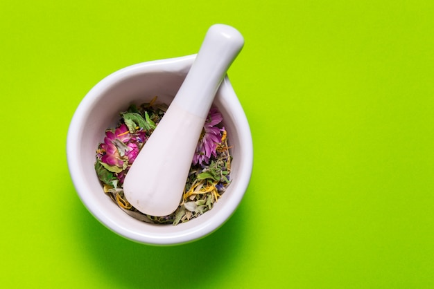 Herbs in porcelain mortar on colorful table