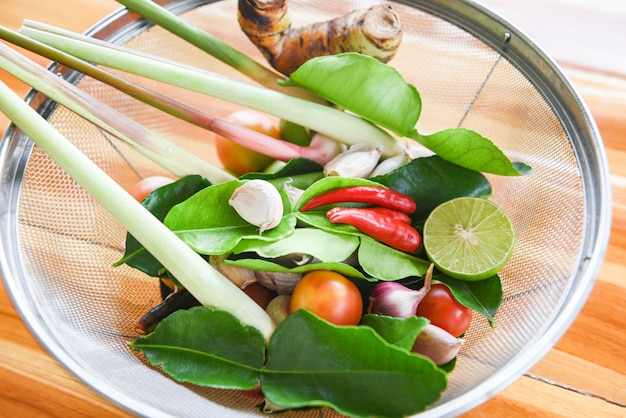 Herbs and spices ingredients spicy soup fresh vegetables with lemon grass