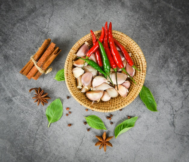 Herbs and spices ingredients thai food asian spicy soup