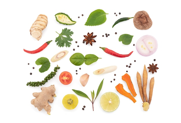 Herbs and spices isolated on white background with clipping path. Premium Photo