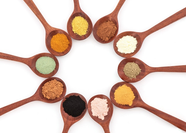 Herbs and spices powder isolated on white background.