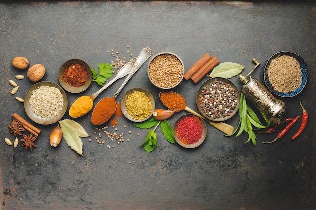 Herbs and spices, top view