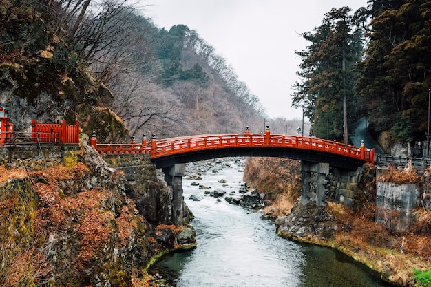 Heritage red bridge in japan