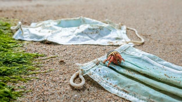 해수에 사용 된 의료 마스크에서 쓰레기 위를 걷는 소라게