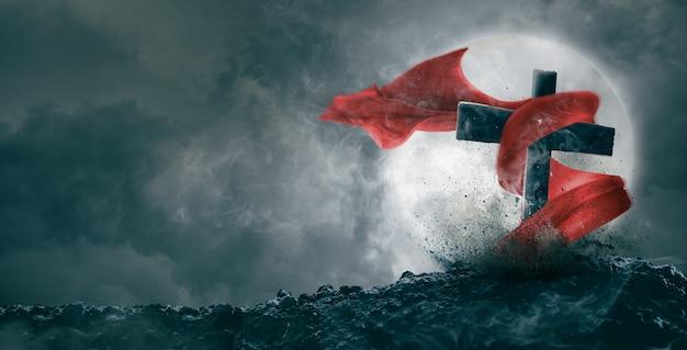 Красная ткань героя выходит из гробницы в ночь полнолуния. могила героя