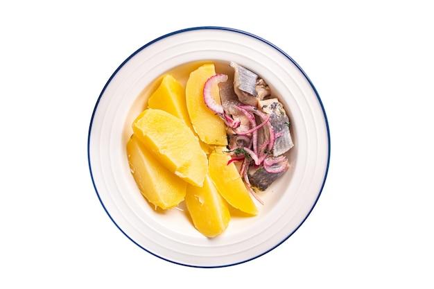 ニシンとジャガイモの茹で野菜第2コースマリネした魚タマネギ新鮮なすぐに食べられる食事