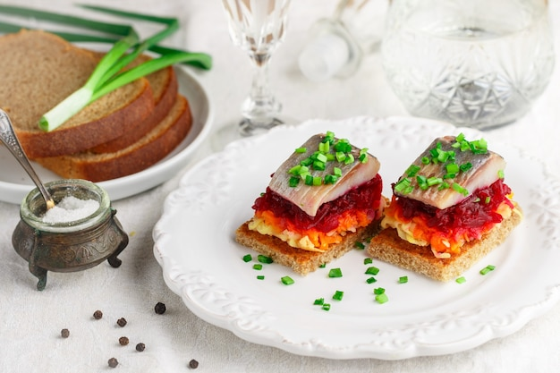 Herring appetizer with vegetables