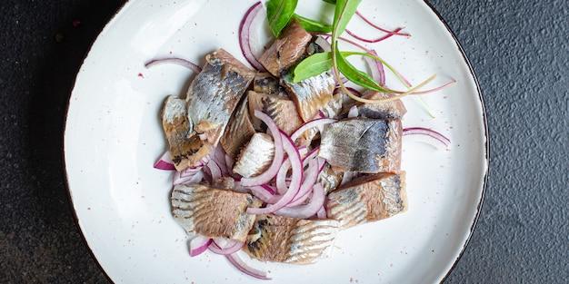 ニシンタマネギサラダドレッシングスナックシーフード魚