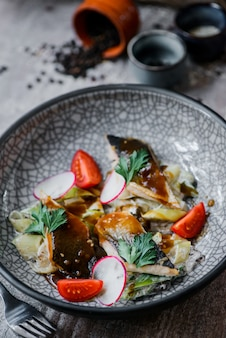 Herring salad with fresh vegetables