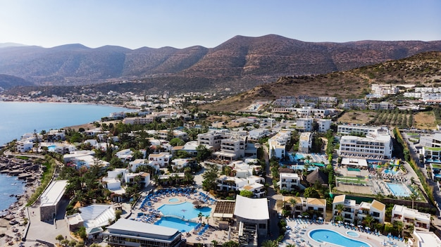 Hersonissos crete, greece. panoramic view from above. summer sea and tourism