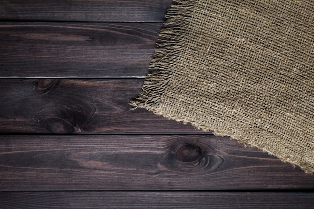 Hessian texture on wooden table