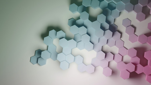 六角形の抽象的な3dレンダリングパステルカラーテクスチャ背景