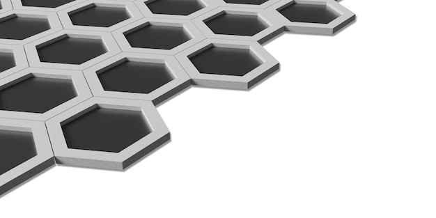 Hexagon abstract honeycomb wall simple strong technology background 3d illustration