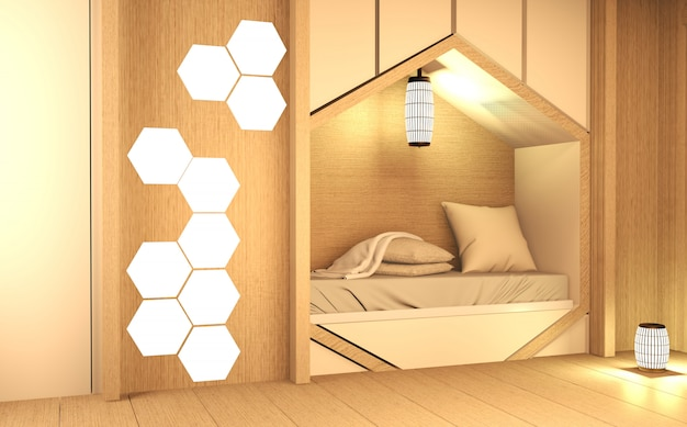 Hexagon bed shelf, bedroom japanese style with plants and lamp decoration on wooden floor.3d rendering