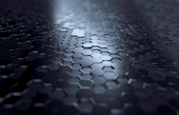 Hexagon black background perspective lighted shiny