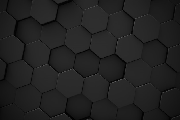 Hexagon black pattern abstract modern background.