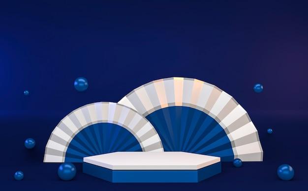 Шестиугольник синий абстрактный геометрический фон, концепция синий подиум в японском стиле. 3d-рендеринг