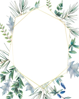 Hexagon christmas plants frame. hand drawn winter card design with evergreen branches, leaves, pine spruce. greeting or logo template.