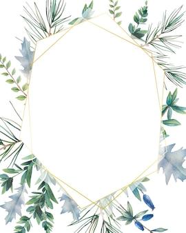 六角形のクリスマス植物フレーム。常緑の枝、葉、マツトウヒと手描き冬カードデザイン。挨拶やロゴのテンプレート。