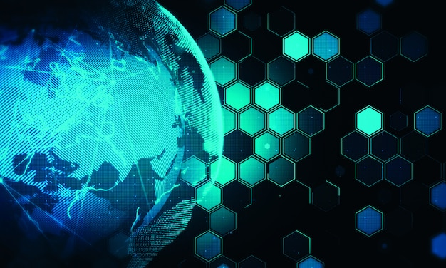 Hexagon digital technology background