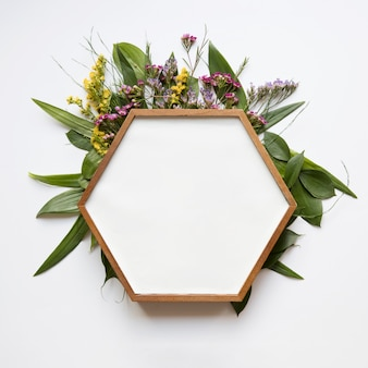 Hexagon frame on leaves and flowers