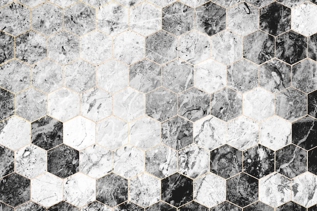 Hexagon gray marble tiles patterned