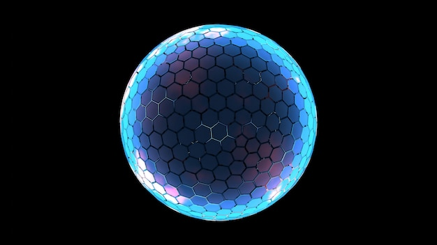 Hexagon grid sphere nano shield with glowing edge color