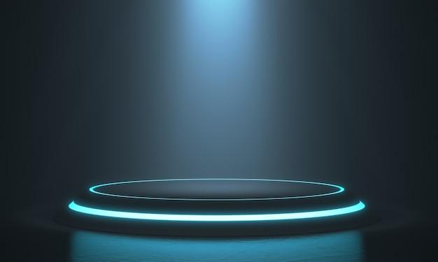 디스플레이 용 육각 받침대, 디자인 용 플랫폼, 빛이 빛나는 빈 제품 스탠드. 3d 렌더링.
