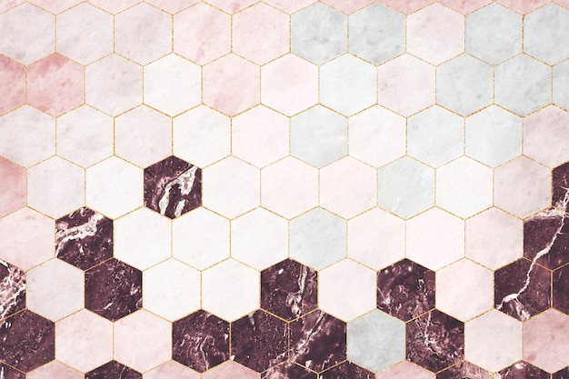 육각형 분홍색 대리석 타일 무늬