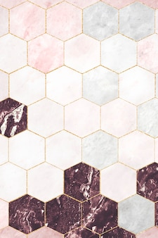 パターン化された六角形のピンクの大理石のタイル