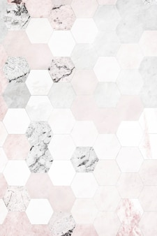 Hexagon pink marble tiles patterned