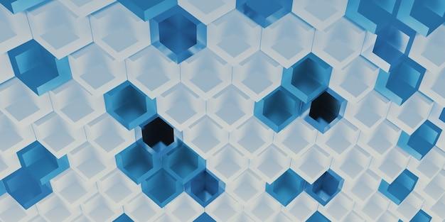 六角形のピクセルブロック技術抽象的な背景現代のシーンの概念3dイラスト
