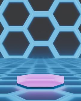 육각형 연단은 미래의 배경 3d 렌더링에 서