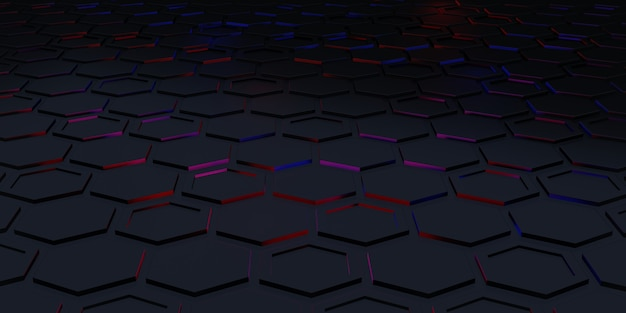Hexagon square background technology scene abstract background 3d illustration premium