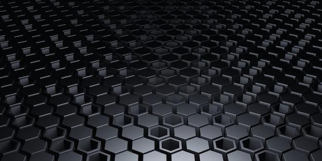 六角形の正方形の背景技術シーン抽象的な背景3dイラストプレミアム