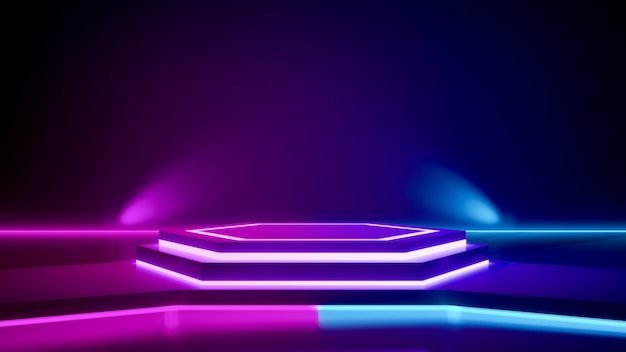 Hexagon stage and purple neon light