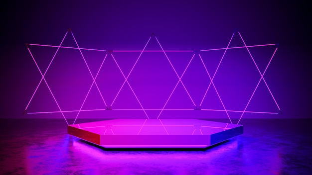 Hexagon stage with neon light, , abstract futuristic, ultraviolet concept, 3d render