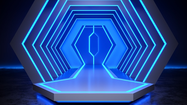 Hexagon stage with neon light  blackground, and concrete floor, blue light, 3d render