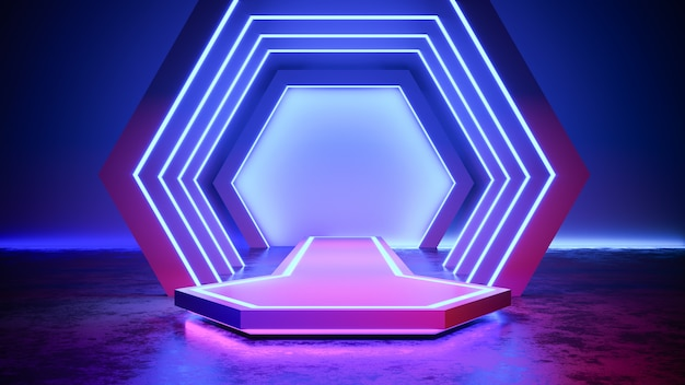 Hexagon   stage with neon light  blackground, and concrete floor, ultraviolet , 3d render