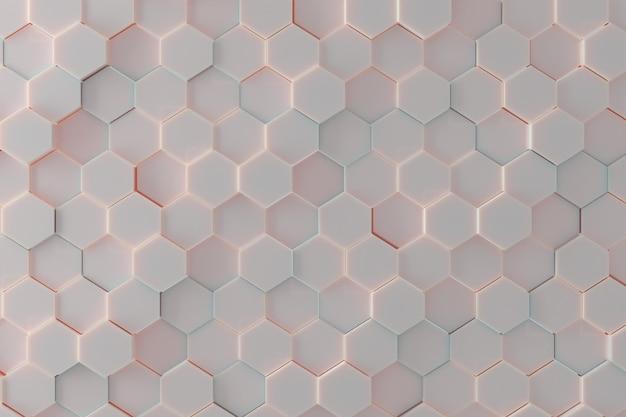 柔らかいパステル カラー ライトで六角形のタイルの背景パターン。 3 d レンダリング