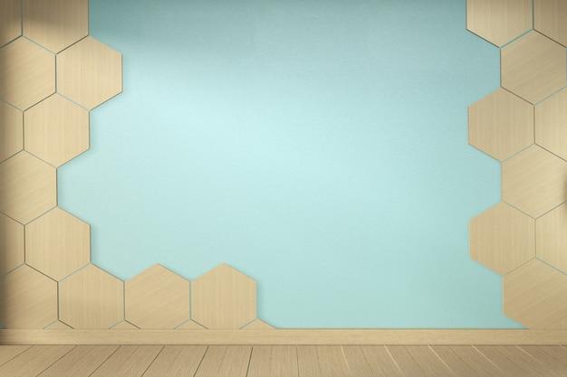 Hexagon tile wall on empty mint room on wooden floor interior design. 3d rendering